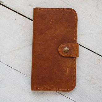 Місткий гаманець з натуральної шкіри, практичний і місткий портмоне унісекс