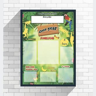 Плакат доска достижений 1 годик постер подарок день рождения крестнику