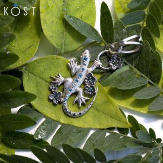Серебряный кулон ящерица в цветах