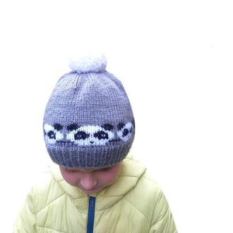 Детская шапка с пандами размер 50-52