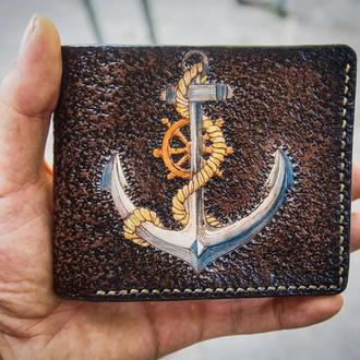 Якорь на кошельке, кошелек с якорем, морской кошелек, подарок моряку, штурвал на кошельке