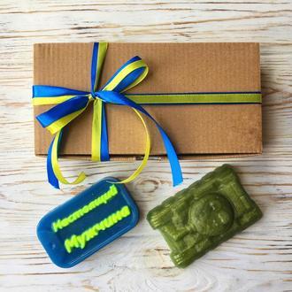 Подарочный набор на День Защитника Украины - мыло Танк и Военный жетон в крафт-коробке