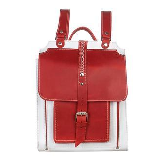 Женский кожаный красный белый рюкзак