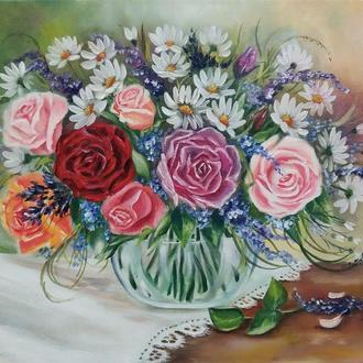 Картина маслом цветы Розы и ромашки