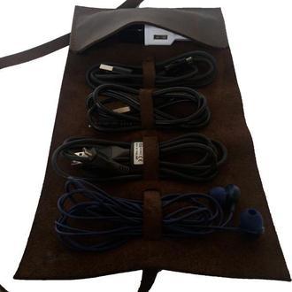 Коричневый кожаный органайзер для проводов х19 (10 цветов)