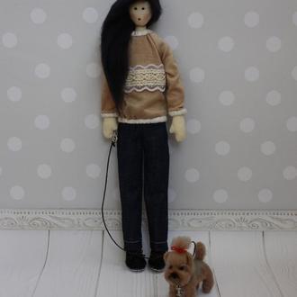 Портретная кукла Тильда София с собачкой из шерсти