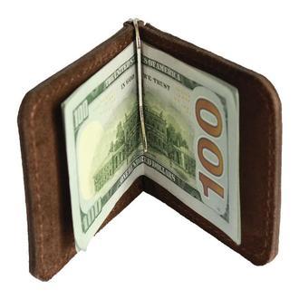 Кожаный кошелек коричневый с зажимом хн7 (10 цветов)