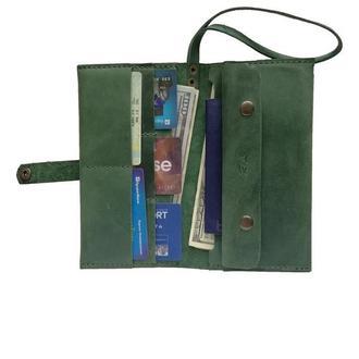 Зелёный кожаный клатч х14 (10 цветов)