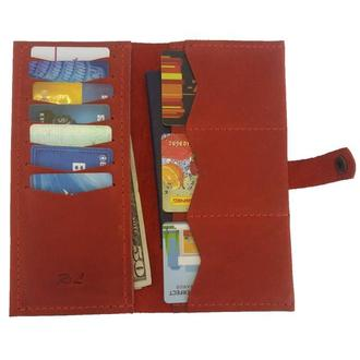 Женский кожаный бумажник красный Х13 (10 цветов)