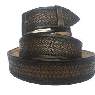 Кожаный ремень градиент чёрный «Ёлочка» (12 цветов)