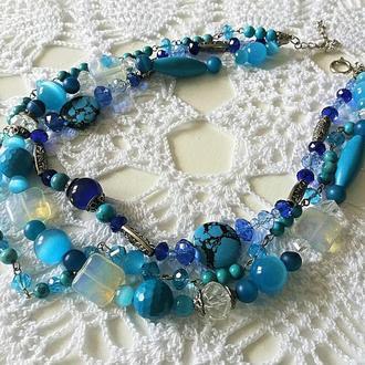 Колье голубое в три ряда из натурального камня