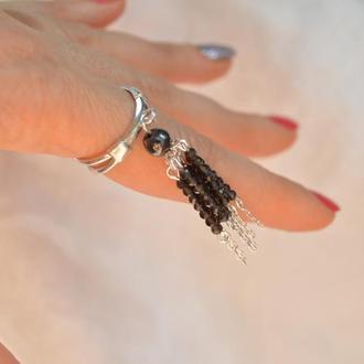 Серебряное кольцо с кистью из обсидиана ′Муза′