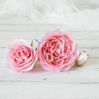 Пионовидные розы в прическу, Розовые шпильки для волос
