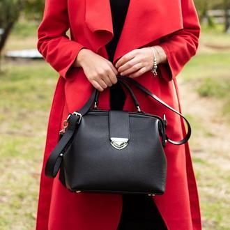 Кожаная сумка-саквояж Фэйт из итальянской кожи в черном цвете