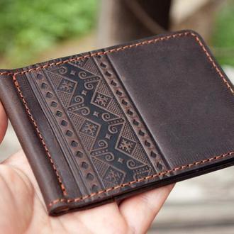 Зажим для денег кожаный коричневый с народным орнаментом