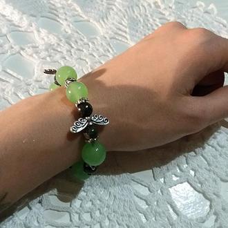 Браслет из зеленого кварца, агата, малахита и яшмы