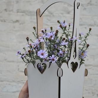 Деревянное кашпо для цветов,оригинальная упаковка, бокc, подарочная упаковка, деревянная коробка