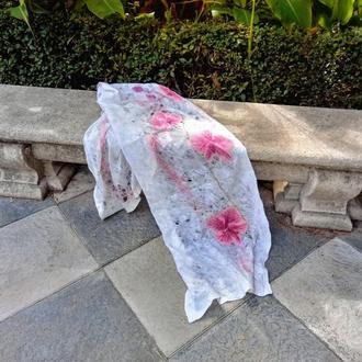 "Шерстяная тонкая яркая эксклюзивная арт шаль  ""Орхидея"""