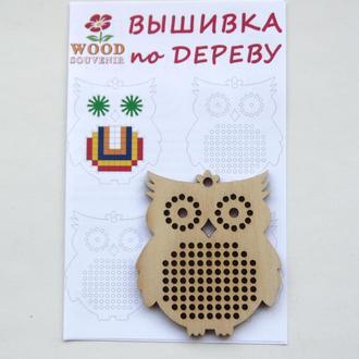 Заготовка деревянная для вышивки +схема Сова 60мм*75мм