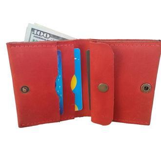 Красный кожаный кошелёк х5 (10 цветов)