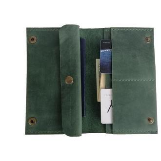 Зелёный женский кошелёк из натуральной кожи х6 (10 цветов)