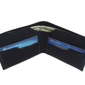 Чёрный кожаный портмоне х8 (10 цветов)
