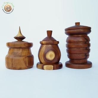Набор деревянных баночек для специй из шелковицы в ориентальном стиле