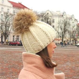 Шапка зимняя из толстой пряжи, белая шерстяная теплая шапка с меховым помпоном