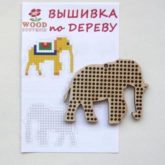 Заготовка деревянная для вышивки +схема Слон 85*60 мм