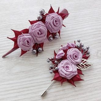 Набор женских цветочных украшений – большая заколка и брошь в розово-сиреневых тонах