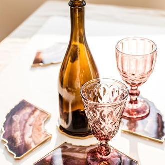 Сет подставок для вина и бокалов на 4 персоны