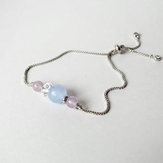 Тонкий браслет универсального размера с бусинами аквамарина и кварца  (модель № 560) JK jewelry