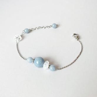 Тонкий браслет-цепочка  с бусинами натурального ангелита  (модель № 561) JK jewelry