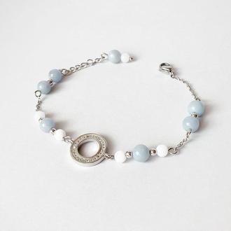 Браслет из ангелита и белого нефрита  (модель №563) JK jewelry