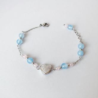 Браслет из  аквамарина и розового кварца. Браслет с сердечком (модель № 564) JK jewelry