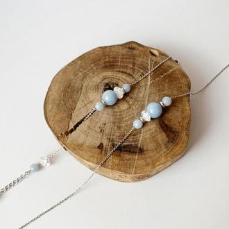 Комплект украшений  подвеска + браслет с натуральным ангелитом  JK jewelry