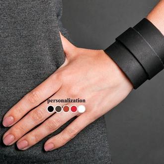 Напульсник - Гипоаллергенный - Черный широкий кожаный браслет с металлическим ремешком код 8010