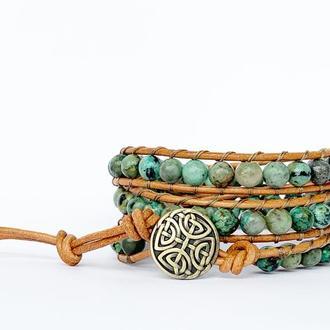 Спиральный браслет  чан лу chan luu из натуральных камней. африканская бирюза