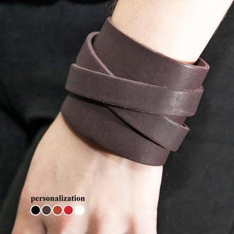 Напульсник - Гипоаллергенный - Коричневый широкий кожаный браслет с двумя ремешками код 8030