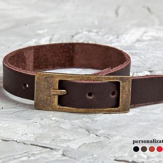 Коричневый кожаный браслет тонкий элегантный код 8102