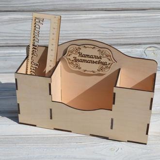 Деревянный органайзер,настольный органайзер,подставка для канцелярии