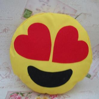 Большая подушка-смайлик Emoji #b-1 Влюбленный Smile