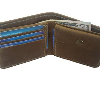 Массивный оливковый кожаный бумажник х9 (10 цветов)