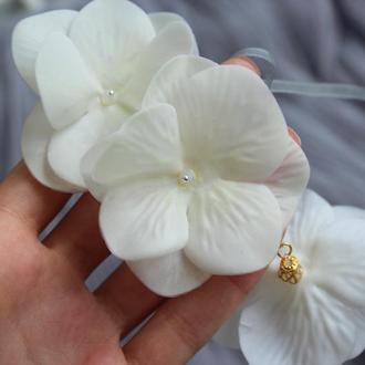 Свадебный браслет с белой гортензией Браслет с белыми цветами для невесты и подружек невесты