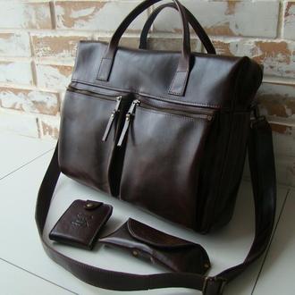Стильная и качественная кожаная мужская сумка/+подарок зажим для купюр