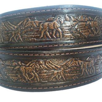 Кожаный ремень градиент коричневый «Табун лошадей» (12 цветов)