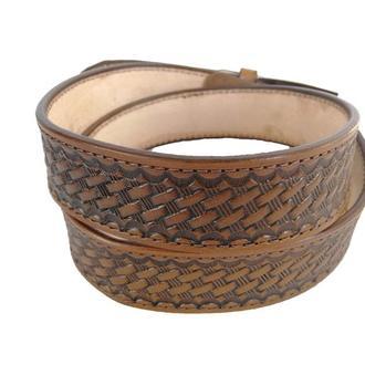 Кожаный коричневый ремень «Крупная корзинка» (12 цветов)