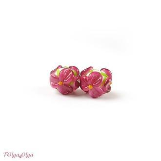 резерв - Цветы розовые на белом (бусины лэмпворк пара)