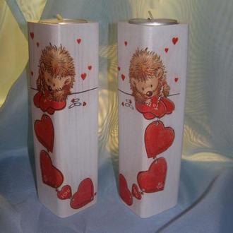 Декоративный подсвечник - подарок ко дню Святого Валентина