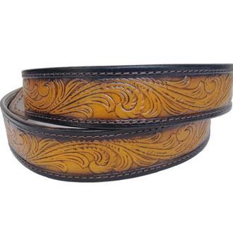 Кожаный ремень градиент светло-коричневый «Цветочный» (12 цветов)